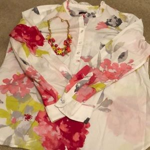 Talbots Blouse and Matching Necklace